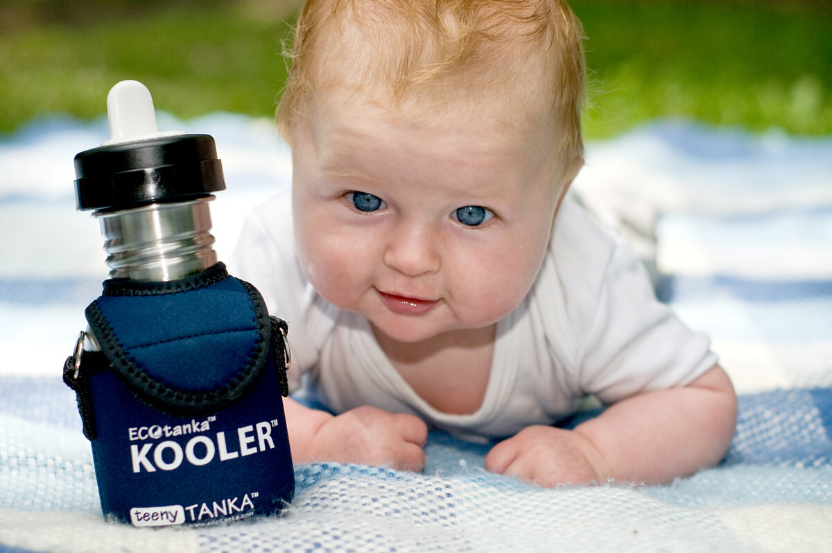 ECOtanka 350ml bottle with kooler cover and baby